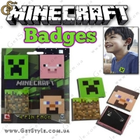 "Значки Minecraft - ""Badges Set"" - 4 шт."