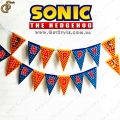 "Гирлянда Соник с надписью Happy Birthday - ""Sonic Garland"" - 16 шт"